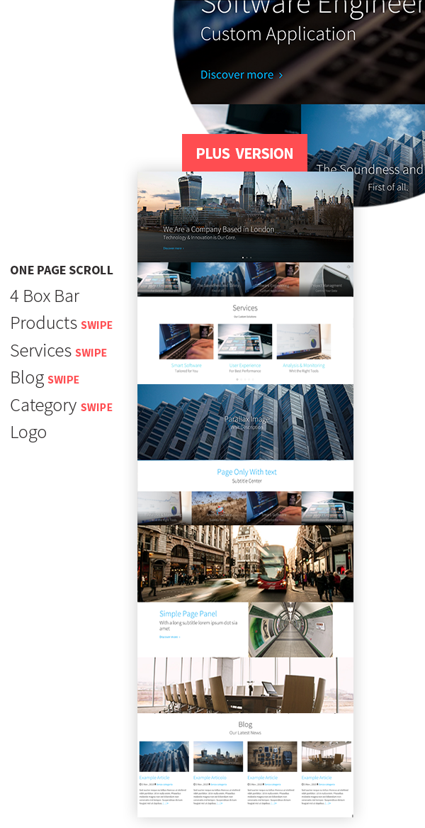 Swipy - Free One Page Parallax Theme with Swipe Support