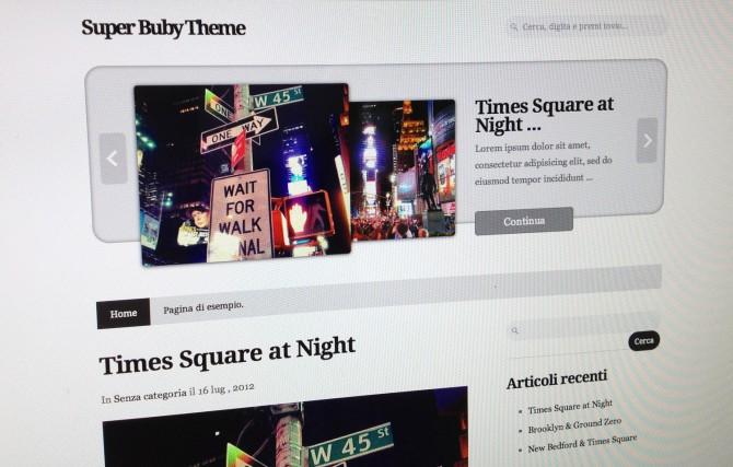 Super Buby Theme, tema WordPress con Slider di immagini e testi in HTML5
